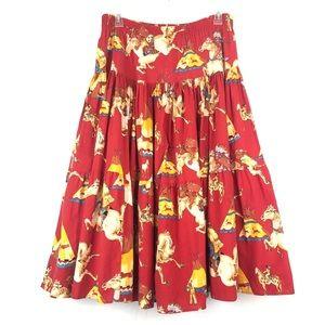 VINTAGE Full Native American Scene Maxi Skirt